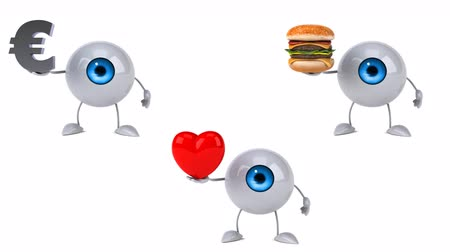 eye ball : Cartoon eye ball characters with various objects Stock Footage