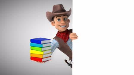 herder : Cartoon cowboy character with books Stock Footage