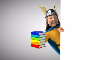 콧수염 : Cartoon gaul character with books 무비클립