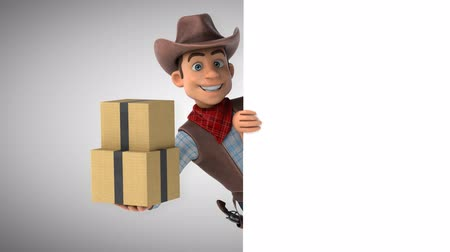 herder : Cartoon cowboy character with boxes