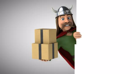 舵を取る : Cartoon gaul character with boxes