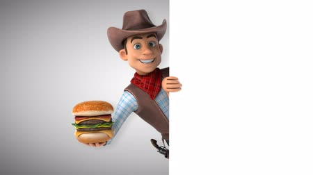 herder : Cartoon cowboy character with a burger