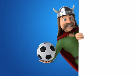 keltisch : Cartoon gaul character with a ball Stockvideo