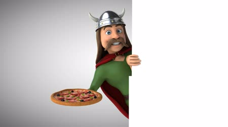 舵を取る : Cartoon gaul character with a pizza