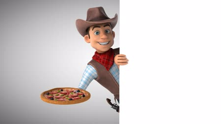 herder : Cartoon cowboy character with a pizza