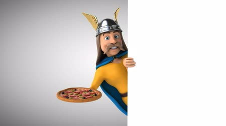 kelt : Cartoon gaul character with a pizza