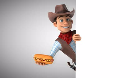 herder : Cartoon cowboy character with a hotdog