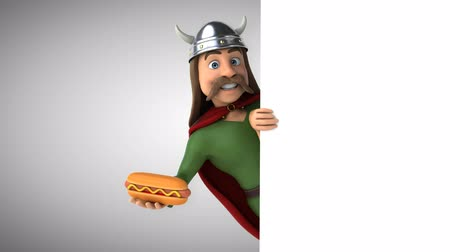 hot dog : Cartoon gaul character with a hotdog