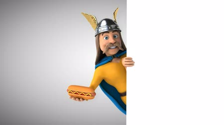 párek v rohlíku : Cartoon gaul character with a hotdog