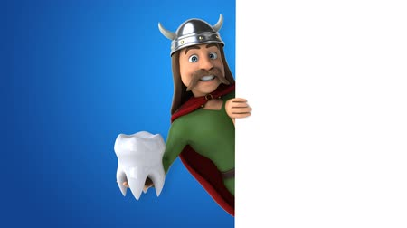 kelt : Cartoon gaul character with a tooth Stok Video