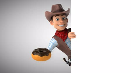 Cartoon cowboy karakter met een donut Stockvideo