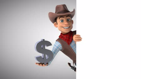 Cartoon cowboy karakter met dollarteken