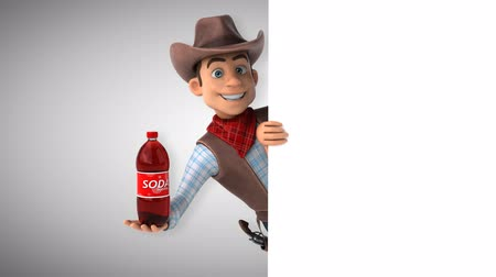 herder : Cartoon cowboy character with a soda bottle Stock Footage