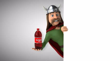 mustache : Cartoon gaul character with a soda bottle
