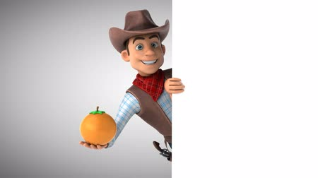 Cartoon cowboy character with an orange Стоковые видеозаписи