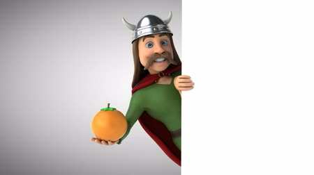 kelt : Cartoon gaul character with an orange Stok Video