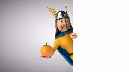 celta : Cartoon gaul character with an orange Archivo de Video