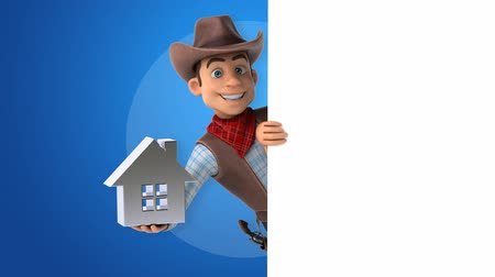 Cartoon cowboy character with house icon