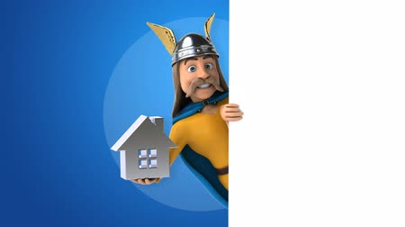 舵を取る : Cartoon gaul character with house icon