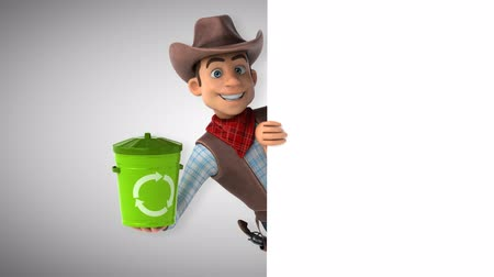 herder : Cartoon cowboy character with recycle bin