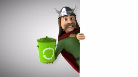 ortam : Cartoon gaul character with recycle bin