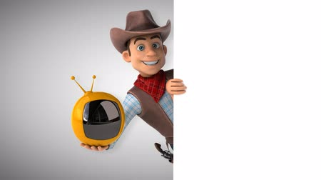 Cartoon cowboy character with a television
