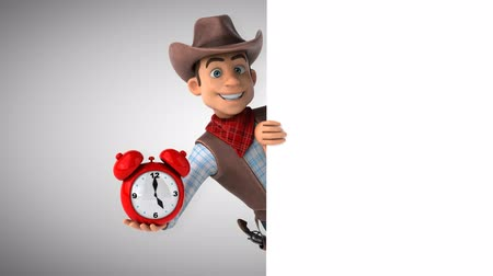 Cartoon cowboy character with an alarm clock