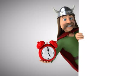 Cartoon gaul character with an alarm clock Стоковые видеозаписи