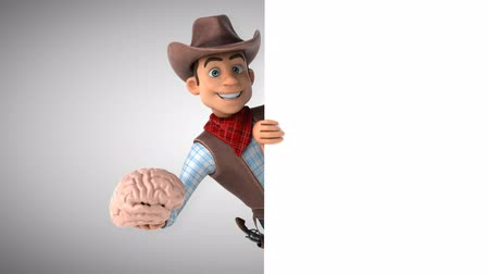 herder : Cartoon cowboy character with a brain
