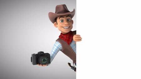 herder : Cartoon cowboy character with a camera Stock Footage