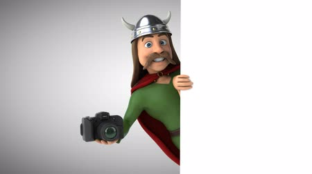 Cartoon gaul character with a camera