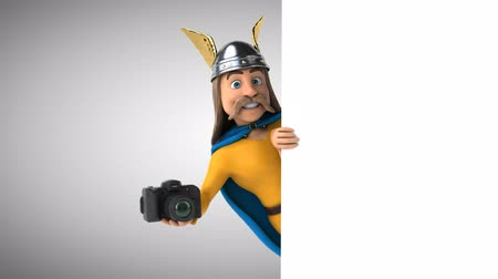 舵を取る : Cartoon gaul character with a camera