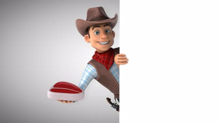herder : Cartoon cowboy character with a steak