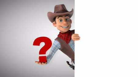 ponto de interrogação : Cartoon cowboy character with a question mark