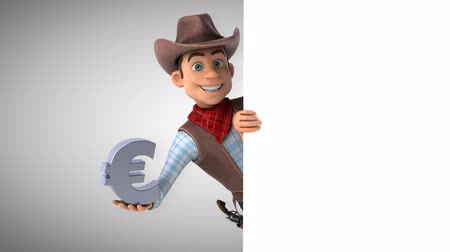 herder : Cartoon cowboy character with European symbol Stock Footage