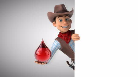 vaqueiro : Cartoon cowboy character with red droplet Stock Footage