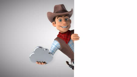 západ : Cartoon cowboy character with metal cloud
