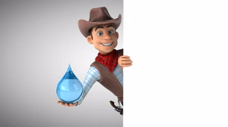 herder : Cartoon cowboy character with water droplet Stock Footage