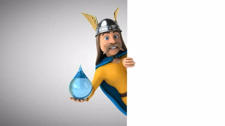 kelt : Cartoon gaul character with water droplet Stok Video