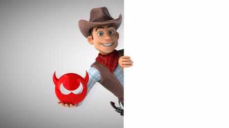 herder : Cartoon cowboy character with devil icon