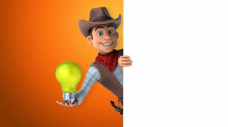západ : Cartoon cowboy character with a light bulb