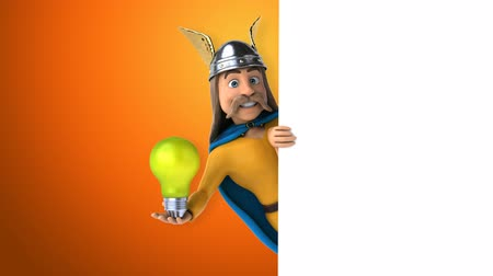 filaman : Cartoon gaul character with a light bulb Stok Video