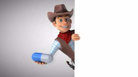 herder : Cartoon cowboy character with a pill Stock Footage