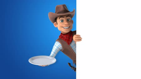 herder : Cartoon cowboy character with a plate Stock Footage