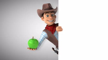 Cartoon cowboy character with apple