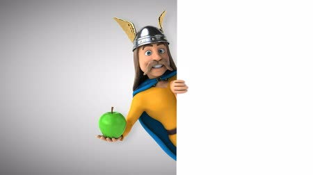 Cartoon gaul character with apple