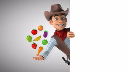Cartoon cowboy character with fruits and vegetables Стоковые видеозаписи