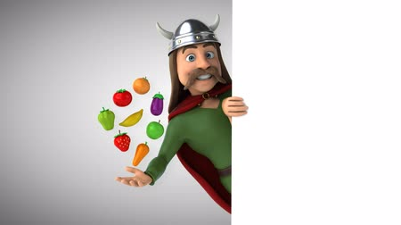 Cartoon gaul character with fruits and vegetables