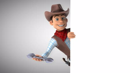 Cartoon cowboy character with a wrench