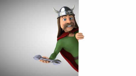 Cartoon gaul character with a wrench